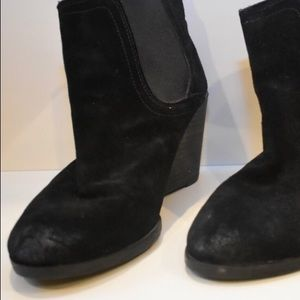 Lucky Brand Shoes - Lucky Brand Black Wedge Suede Ankle Bootie Size 10